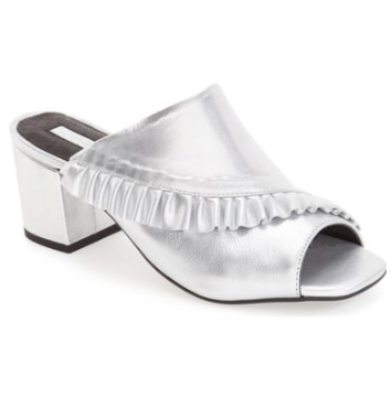 Topshop 'Nellie' Frill Square Toe Mule