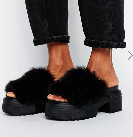 ASOS TOOTY FRUITY Furry Chunky Mules