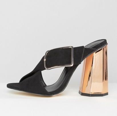 New Look Buckle Suedette Heeled Mule