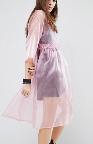 Reclaimed Vintage Oversized Sheer Tulle Dress With Cami Slip