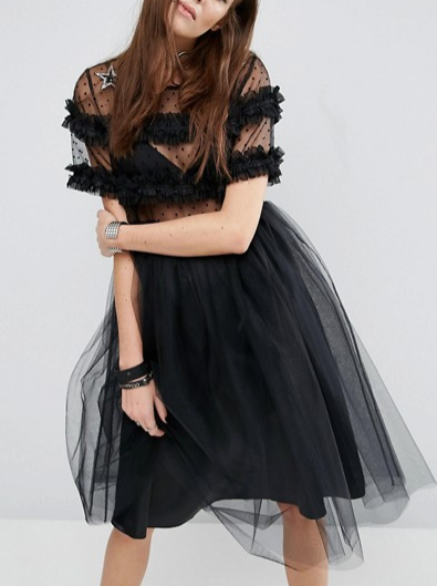 Reclaimed Vintage Tulle Dress With Smocking & Star Patches