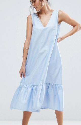 ASOS Midi Dress with Tiered Hem in Oxford Twill