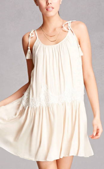 Forever 21 Lush Lace-Trim Swing Dress