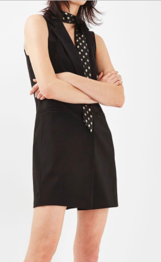 Topshop Sheer Sleeveless Blazer Dress