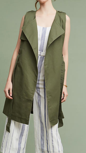 Anthropologie Military Trench Vest