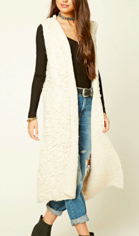 Forever 21 Hooded Loop Knit Cardigan