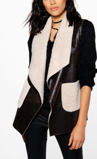 Boohoo Eleanor Waterfall Faux Fur Collar Gilet