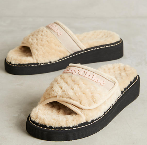 See by Chloe Faux Shearling Slide Sandals
