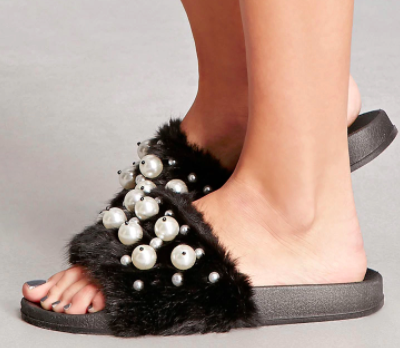 Forever 21 Faux Fur Pearl Slides