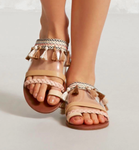 Forever 21 Tasseled Toe-Loop Clear Sandals
