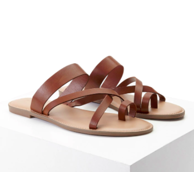 Forever 21 Faux Leather Toe Ring Sandals