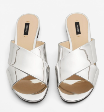 Mango Metallic strap sandals