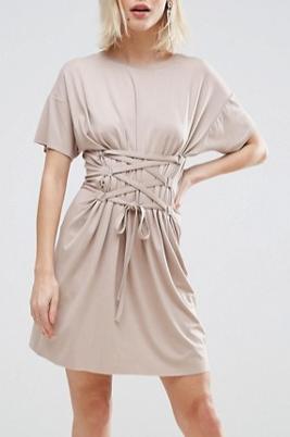 ASOS Corset Detail T-Shirt Dress