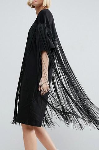 ASOS WHITE Fringe Detail Dress