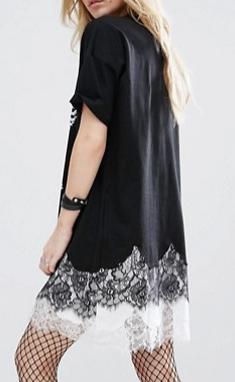 ASOS PETITE Punk Front Print Lace Insert T-Shirt Dress