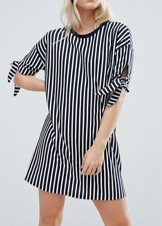 ASOS PETITE T-Shirt Dress in Stripe with Bow Sleeve