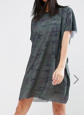 ASOS Camo Slouch T-Shirt Dress