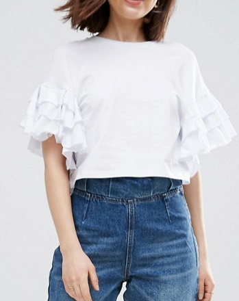 ASOS Crop T-Shirt With Ruffle Sleeve