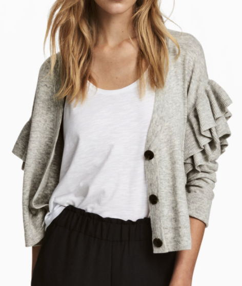 HM Knit Ruffled Cardigan