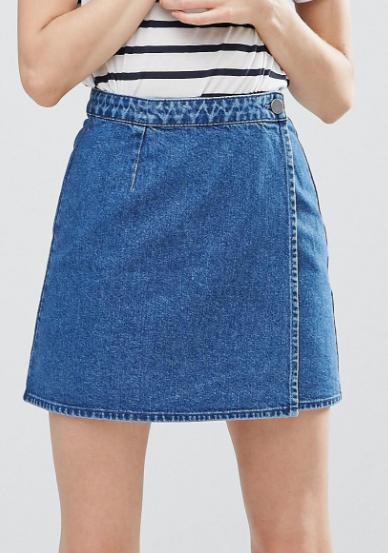ASOS Denim Wrap Skirt in Mid Wash Blue
