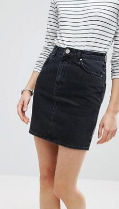 ASOS Denim Original High Waisted Skirt in Washed Black