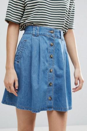 daf0b7d150b ASOS Denim Button Front Mini Skater Skirt In Mid Wash Blue