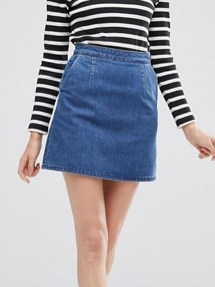 ASOS Denim A line Skirt in Mid Wash Blue