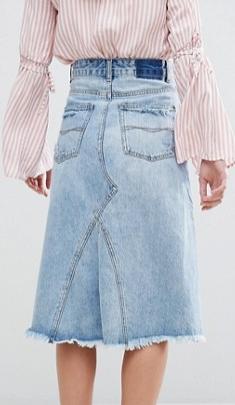Pull&Bear Midi Asymetric Denim Skirt