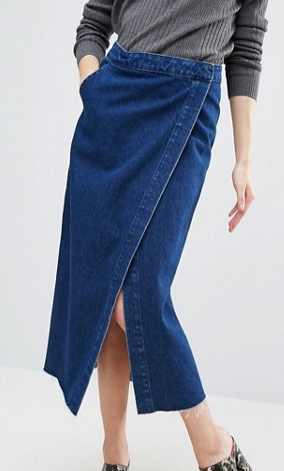ASOS Denim Midi Wrap Skirt With Raw Hem in Dark Wash Blue