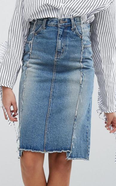 STYLENANDA Deconstructed Denim Skirt