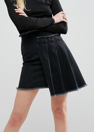 ASOS Denim Asymmetric Pleated Skirt in Washed Black