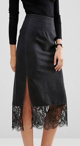 ASOS TALL Denim Slip Skirt With Lace Hem in Washed Black