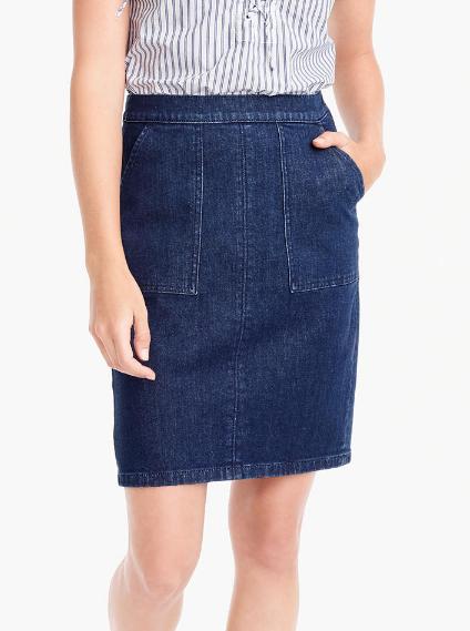 JCREW Tie-back denim skirt