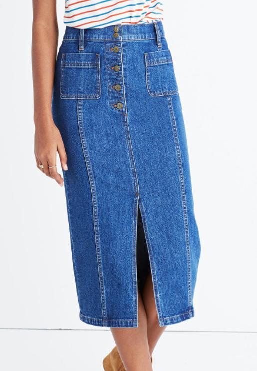 Madewell high-slit jean skirt