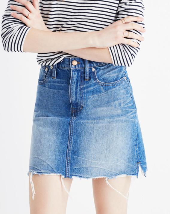 Madewell mccarren raw-hem jean skirt