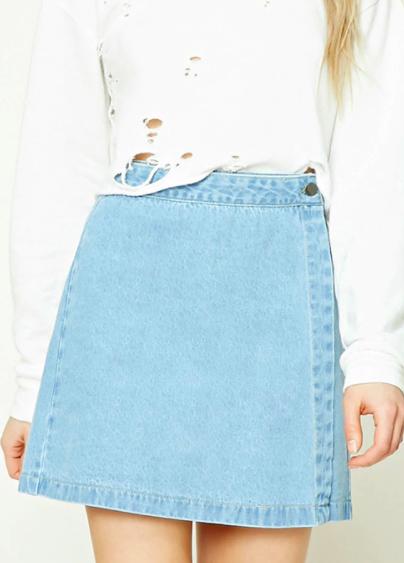 Forever 21 Denim Wrap Mini Skirt