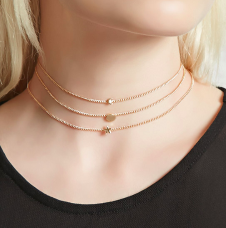 Forever 21 Star Sun and Moon Choker Set