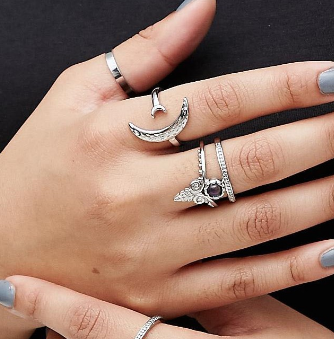 ASOS CURVE Pack of 6 Mystical Moodstone Rings