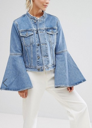 ASOS PETITE Denim Jacket With Rips and Fluted Sleeve