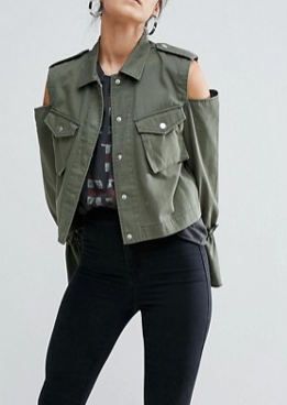 ASOS Cropped Jacket with Cold Shoulder