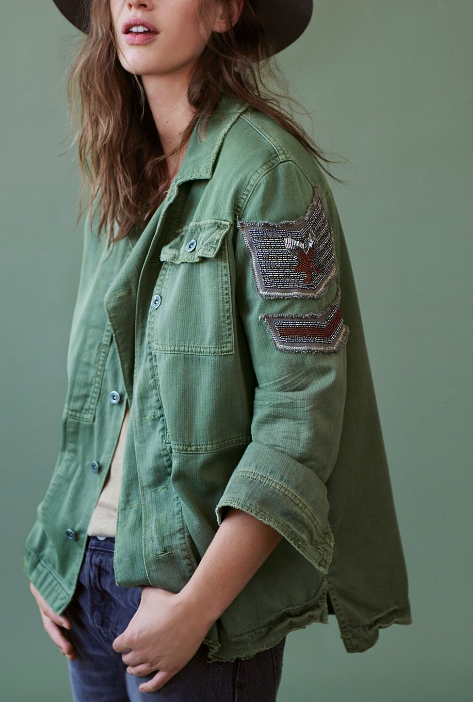 FP Embellished Military Shirt Jacket