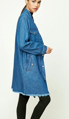 Forever 21 Longline Denim Buttoned Jacket