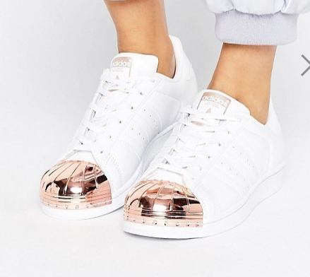 adidas Originals White Superstar Sneakers With Rose Gold Metal Toe Cap