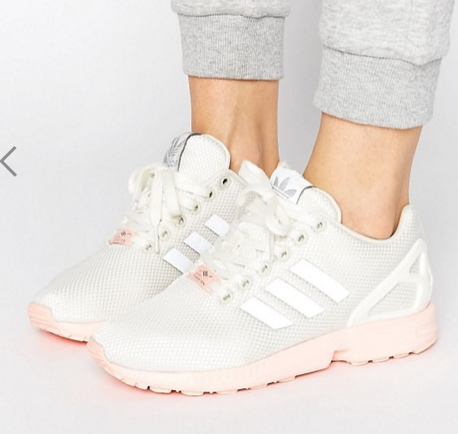 adidas Originals White ZX Flux Sneakers With Pink Sole