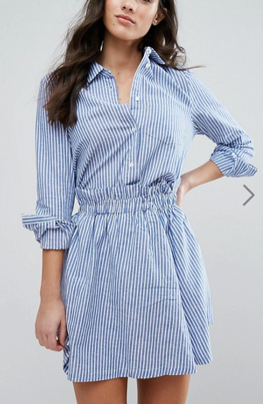 Y.A.S Kolo Stripe Neck Detail Shirt & Skirt Co-Ord
