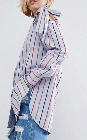 ASOS Cotton Shirt with Tie Shoulder in Multi Stripe