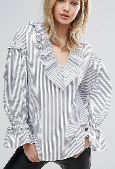 Mango Stripe Frill Detail Balloon Sleeve Top