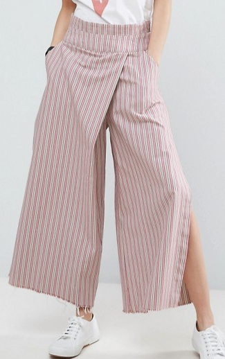 ASOS Stripe Wide Leg Pants with Tie Back and Splits