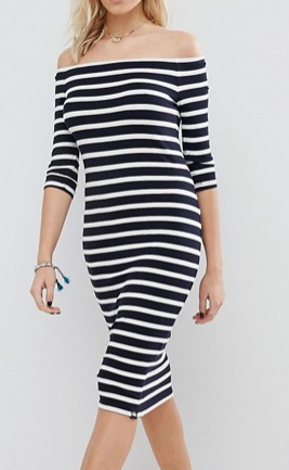 Superdry Stripe Off The Shoulder Dress