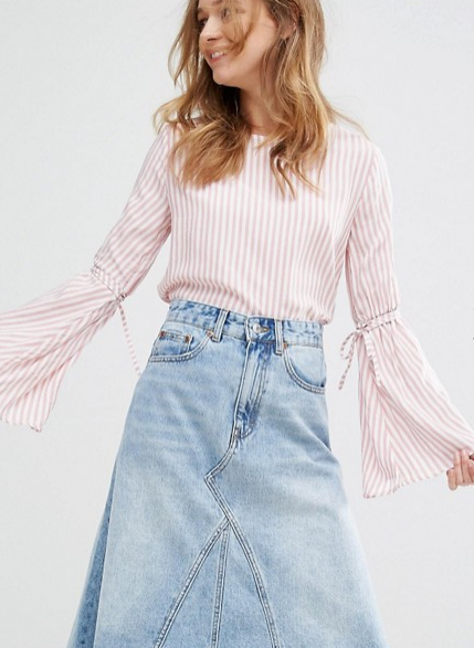 Pull&Bear Stripe Fluted Sleeve Top